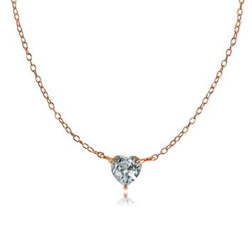 Dainty Aquamarine Small Heart Choker Necklace in Rose Gold Plated 925 Silver