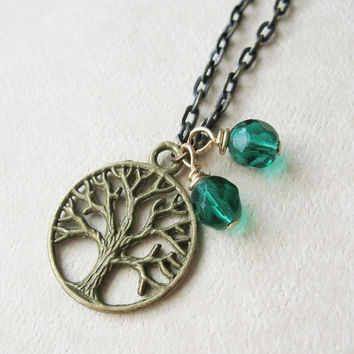 Tree of Life Necklace. Antique Brass Tree Charm Necklace. Green Tree Bead Necklace.