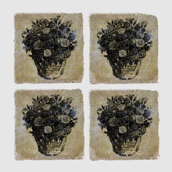 Stardust Collection Coasters - Skull Bouquet Set