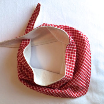 Upcycled Baby Bandana Bib with buttonhole closure- Red and Beige Checkered
