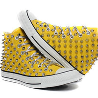 Studded Converse silver stud with custom design by customduo
