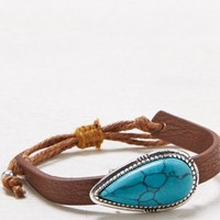 AEO Women's Turquoise Inset Bracelet (Leather)
