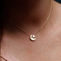 Moon and Star Necklace Gold Moon Star Necklace by MinimalVS