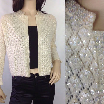 50s Sequin Cardigan Vintage Sequin Sweater Vintage Pointelle Cardigan Hong Kong Sweater Evening Sweater Rockabilly Sweater 36 in S small