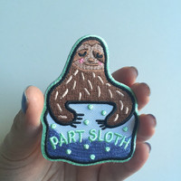 Part Sloth iron-on embroidered funny patch