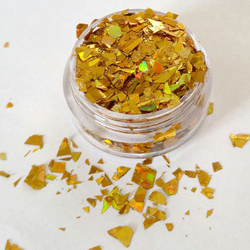 Pot O' Gold - Gold Mylar Flake, Chunky Cosmetic Body & Face Glitter For Festival and Creative Makeup, Slime and Crafts