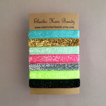 The Harper Skinny Glitter Hair Ties - Ponytail Holder Collection -  Elastic Hair Ties by Elastic Hair Bandz on Etsy
