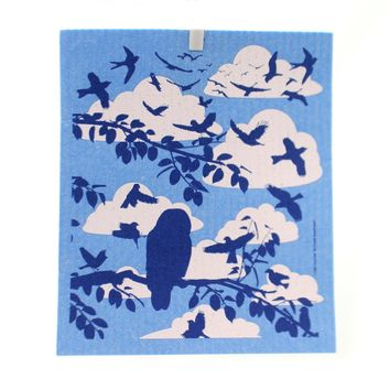 Swedish Dish Cloth Bird Flocks Decorative Towel