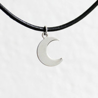Crescent moon necklace, choker