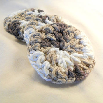 Cotton Face Scrubbies, Handmade, Eco Friendly Makeup Remover FaceCloth Set of 4, Chocolate Milk