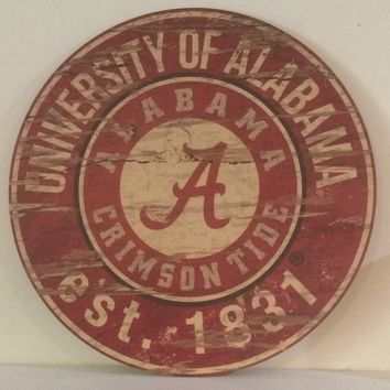 University of Alabama, UA Distressed Round Sign. Officially Licensed. Ready To Hang.