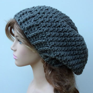Pewter Gray Baggy Hipster Hat smaller Dread Tam Slouchy Beanie Handmade Crochet grey women men