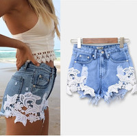 lace floral pattern patchwork ripped shorts denim high waist hotpants jeans trousers plus size for woman women short feminino