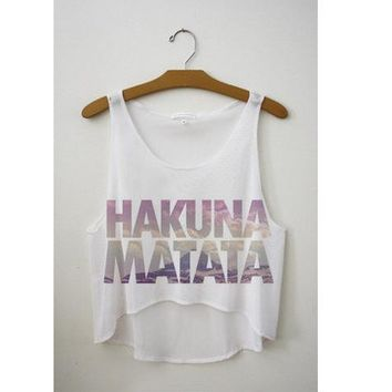 Kiwi 2016 New Arrival Summer Style Tank Top Women T shirt Hakuna Matata Cartoon Print T-shirt Casual Cropped Top