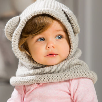 Blossoms & Buds Light Gray Bear Hooded Knit Beanie | zulily