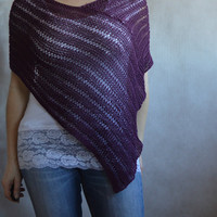 Loose Knit Purple poncho, cotton beach cover up, Designer poncho, Plum Loose Knit Wrap, Hand knitted Poncho, purple Cover up, knitwear
