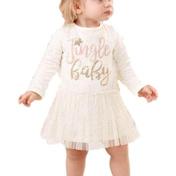Mud Pie-Jingle Baby Mesh Overlay Dress,