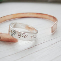Stunning sterling silver band hammered with I love you more ring with tiny heart stamp promise ring
