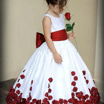 Honey Qiao Flower Girl Dresses for Wedding 2017 Wine Red and White Sash Ball Gown Sweep Train Crew Little Girls Pageant Gowns