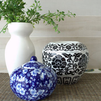 Reserved for B- White Ceramic Haeger Vase, Blue and White Chinoiserie Ginger Jar with Lid, Black and White Jar, Black and White Vase