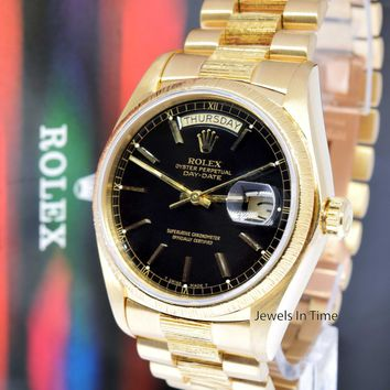 Rolex Vintage Day-Date 18k Yellow Gold President Black Dial Watch 18078