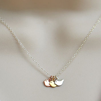Baby bird Charms Mixed metal Necklace - Rose or Yellow Gold, silver, mother mom, grandma, birthday gift, baby shower