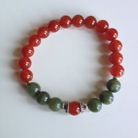Astrology ~ Libra Sign ~ Genuine Jade & Carnelian Bracelet w/ Sterling Silver Caps and Hill Tribe Spacers