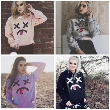 DCKL73 Hoodies Tops Winter Trick Emoji Print Long Sleeve Cotton Hats [11889270671]