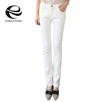 2017 Brand Spring Slim Flare Bell Bottom White Jeans Women Plus Size Clothing Stretch Skinny Jean Pants Denim Trouser 4Xl 5Xl