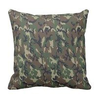 Woodland Camouflage Military Background Throw Pillow