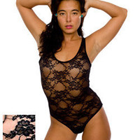 Nylon Spandex Stretch Floral Lace Bodysuit | Bodysuits & Rompers | Shop American Apparel