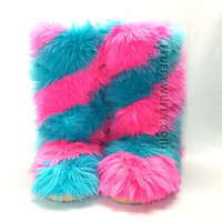 Swirl – Hot Pink & Turquoise Fur Boots