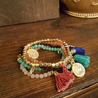 Starting A New Chapter Coin & Tassel Beaded Bracelet Set