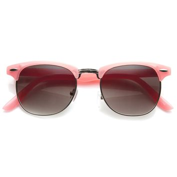 Cute Pastel Colors Horned Rim Half Frame Womens Sunglasses 8955
