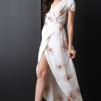 Surplice Floral Wrap Maxi Dress | UrbanOG