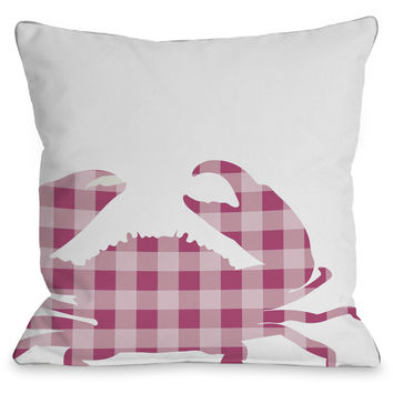 """Plaid Crab"" Indoor Throw Pillow by OneBellaCasa, Pink, 16""x16"""