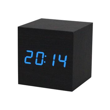 1PC Digital LED Black Wooden Wood Desk Alarm Brown Clock Voice Control Wonderful