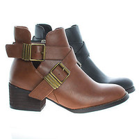 Bronco11 By Breckelle's, Cut Out Criss Cross Buckle Faux Wooden Heel Ankle Boots