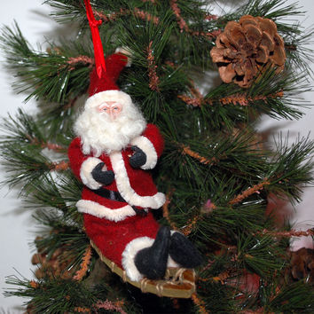 Santa on Snowshoe Ornament