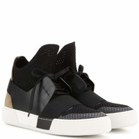 Fabric and leather high-top sneakers