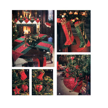 CHRISTMAS CRAFTS PATTERN Ornaments Stockings Tree Skirt Table Runner Mantel Scarf Placemats Simplicity 9748 UNCuT Holiday Sewing Patterns