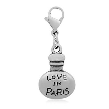 """Love In Paris"" Letter 316l Stainless Steel Floating Perfume Bottle Dangle Charms with Lobster Clasp DIY Necklace Pendant"