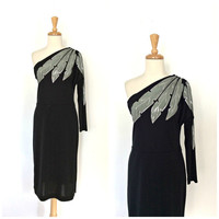 70s Off The Shoulder Disco Dress - cocktail dress - glitter holiday dress - small