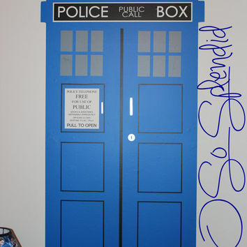 TARDIS - Police Box -  Doctor Who Inspired Large Wall Vinyl Decal - Time and Relative Dimension in Space