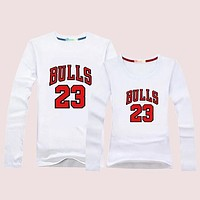 Jordan Bulls Women Men Lover Casual Long Sleeve Top Sweater Pullover