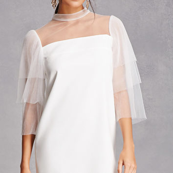 Layered Sheer Sleeve Dress