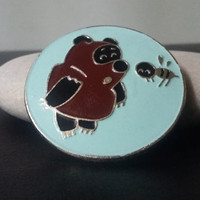 Vintage Bear PIN, Soviet BADGE, Made in USSR, Winnie the Pooh with Bee, Russian Bear, Enameled Brooch, Teddy Bear, Cartoon Button, Animation