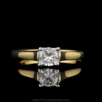 Modern Princess Cut Diamond Solitaire Cathedral Mounting in 18K Yellow Gold
