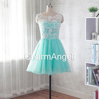 lace prom dress, short evening dress, homecoming dress, bridesmaid dress