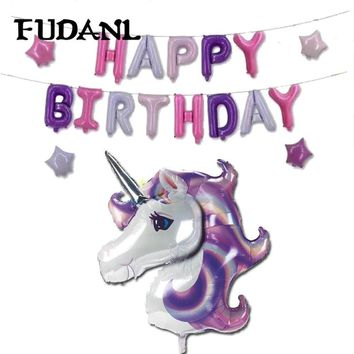 Cute Unicorn Balloon with Happy Birthday Letter Balloons Baby Shower Birthday Party Decorations for Kids Unicorn Party Favors